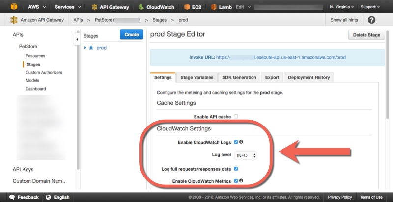 How to enable CloudWatch logs for API Gateway | kennbrodhagen net