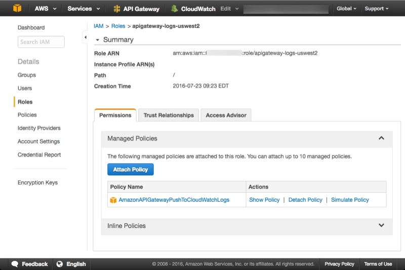 How to enable CloudWatch logs for API Gateway